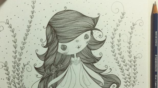 Ilustração de Juliana Fiorese da Daenerys Targaryen