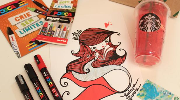 Juliana Fiorese Ilustração Posca Starbucks