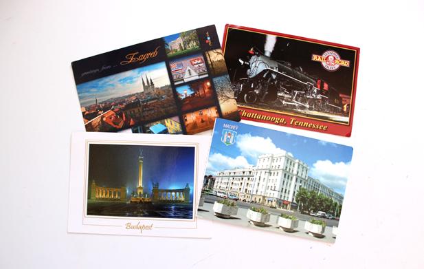Cartões postais da Croácia, Estados Unidos, Hungria e Rússia.